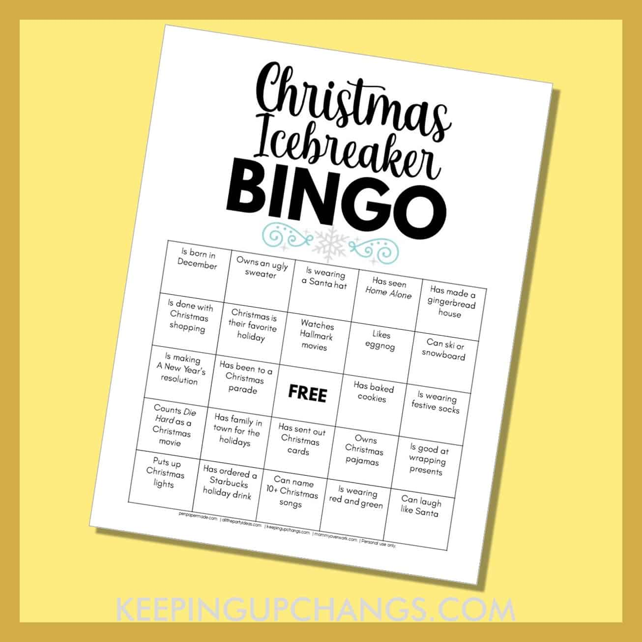 human christmas icebreaker bingo with fun getting to know you facts about the holidays.