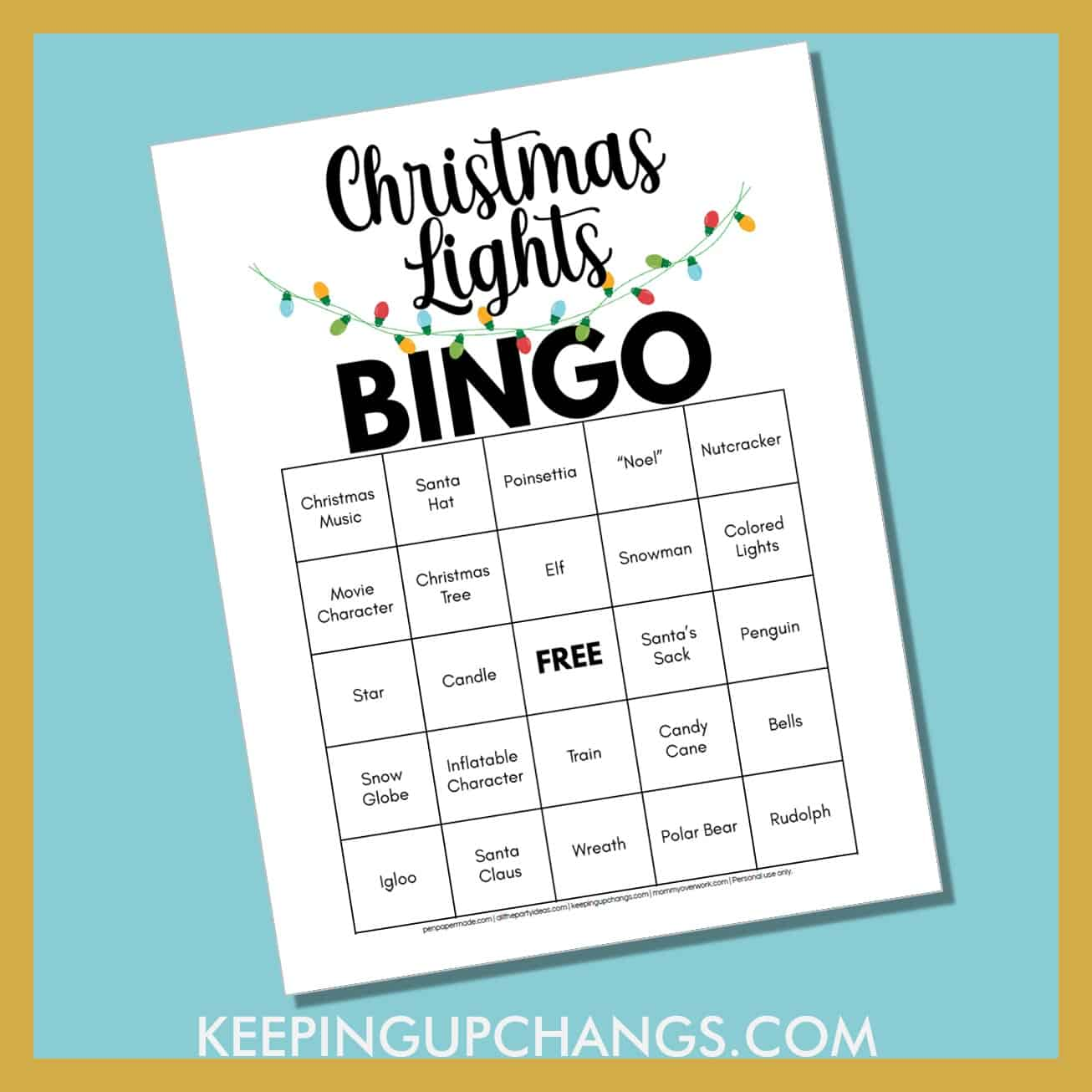 free christmas lights scavenger hunt bingo printable to look out for snowflakes, angels, toys, elves and more.