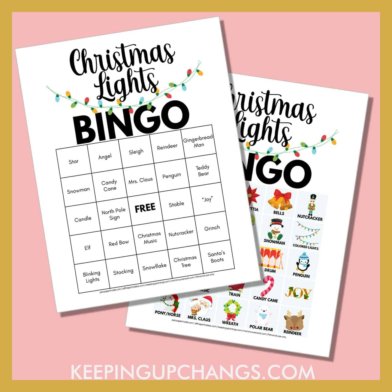simple easy christmas lights bingo with free printable in 4 versions.