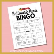 free christmas hallmark movie bingo printable with family recipes, love scenes, christmas spirit and more.
