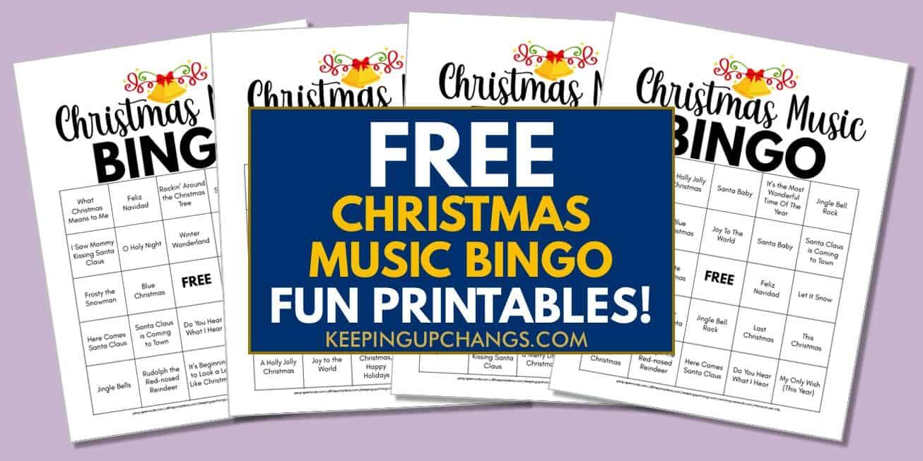 free christmas music bingo printable from spotify playlist of top christmas songs..