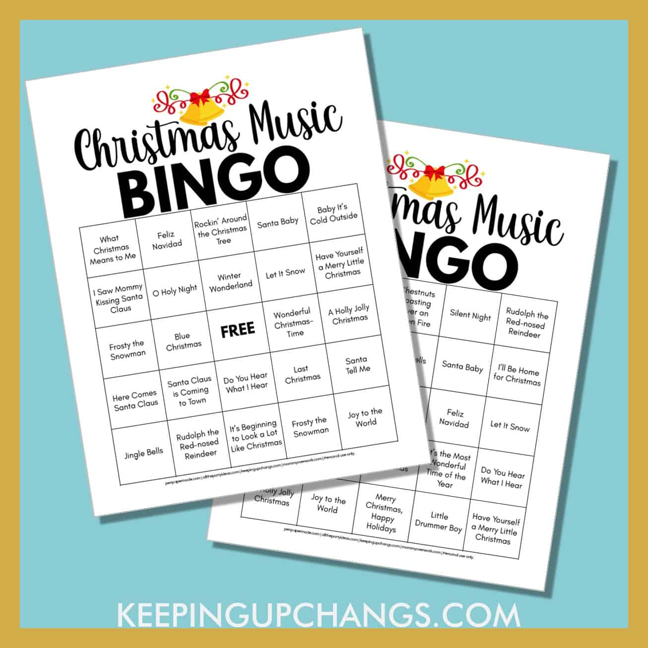 simple easy christmas music bingo with free printable in 4 versions.