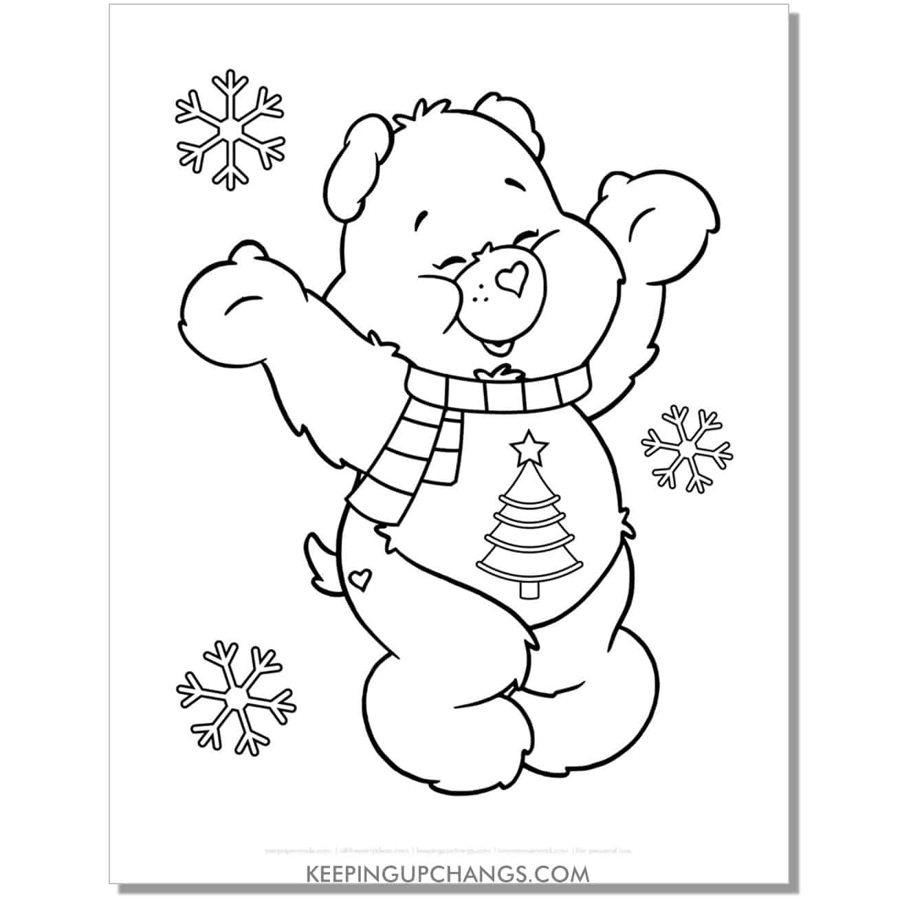 christmas wishes care bear coloring page with snowflakes.