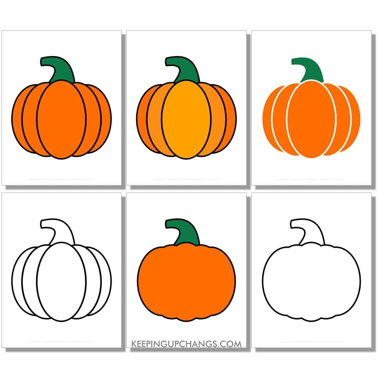 free large classic pumpkin in color, black and white, silhouette, full size page.