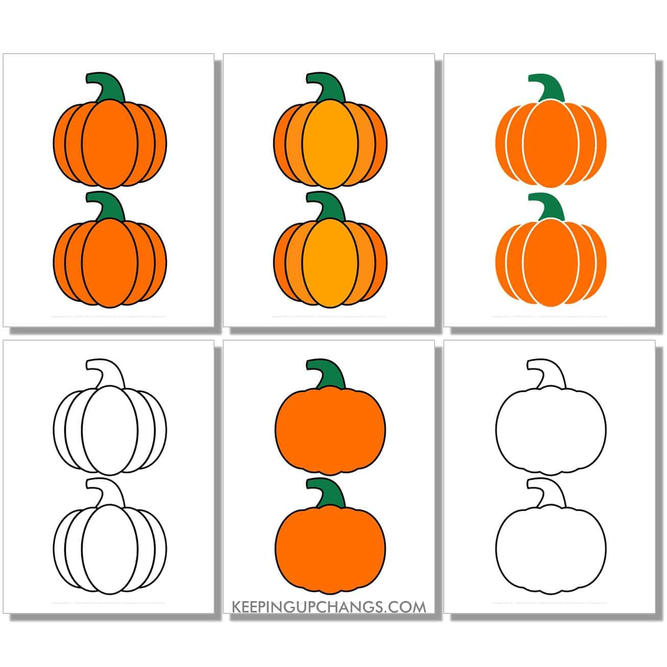 free medium classic pumpkin in color, black and white, silhouette, 2 to a page.