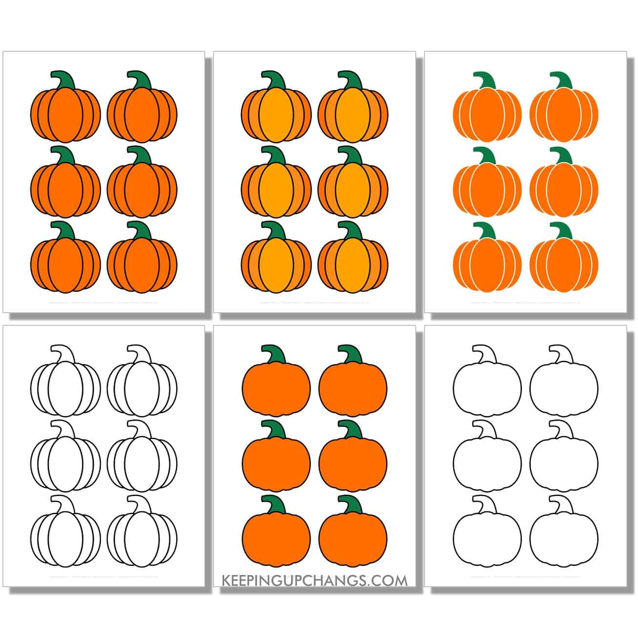 free mini classic pumpkin in color, black and white, silhouette, 6 to a page.