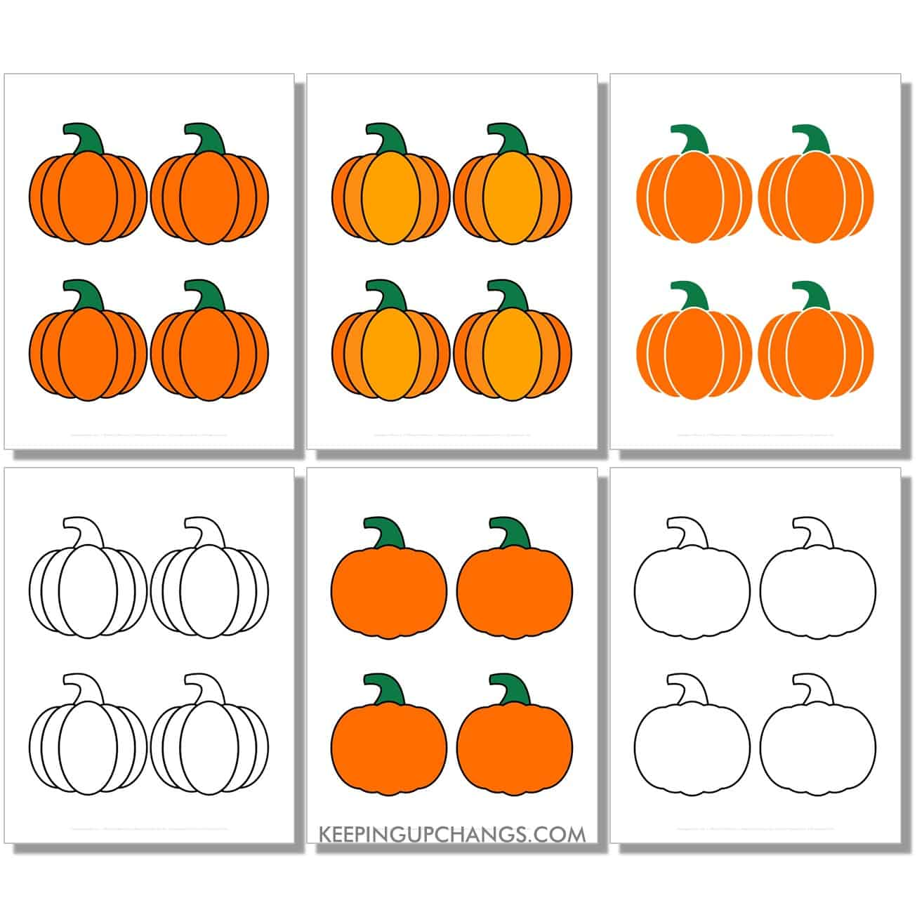 free small classic pumpkin in color, black and white, silhouette, 4 to a page.