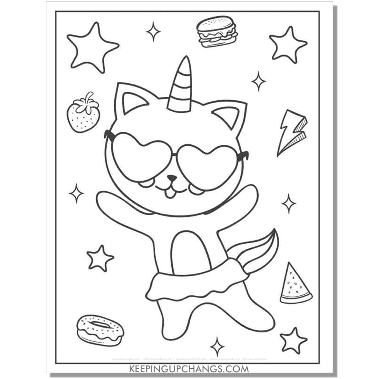 cat unicorn rock star ballerina coloring page.