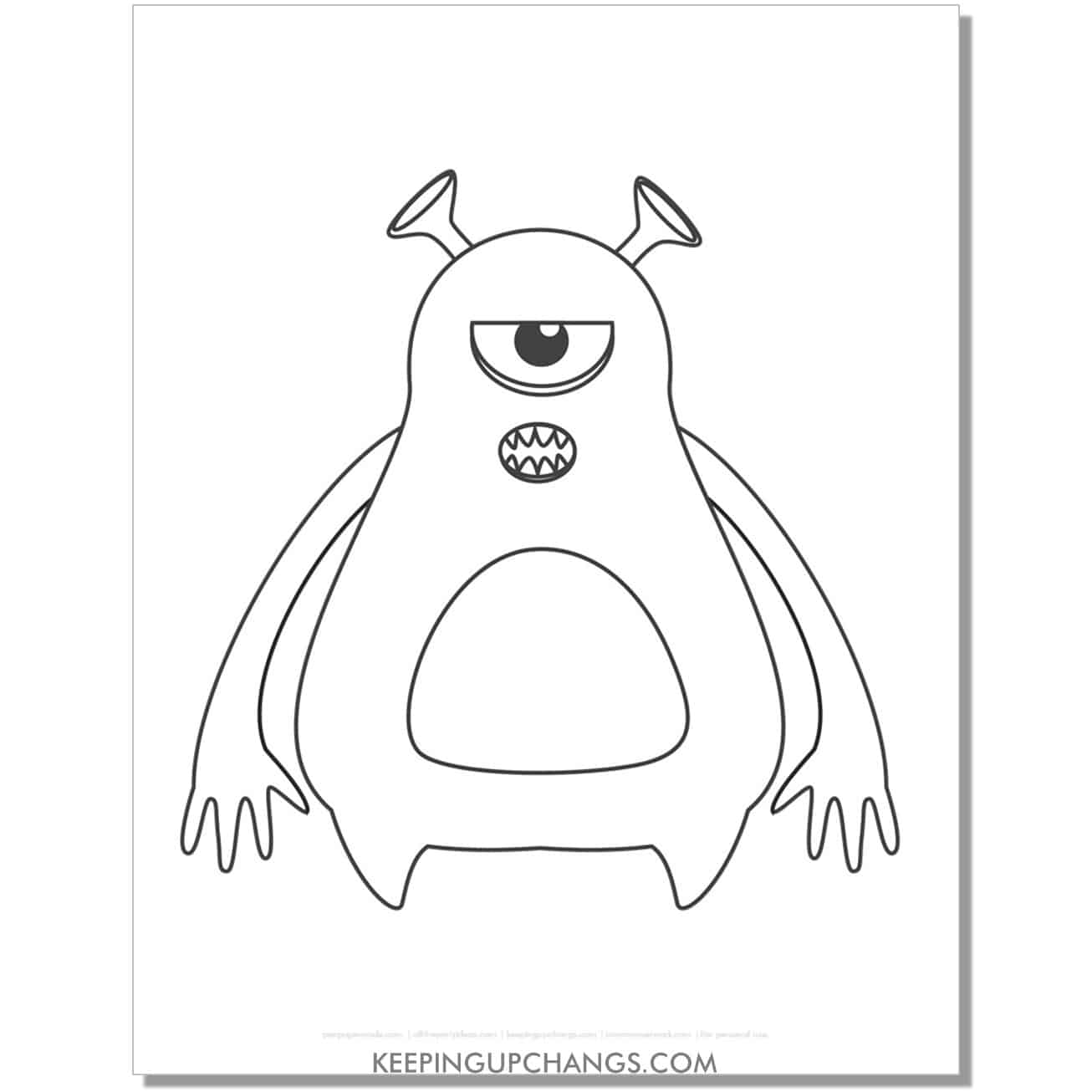 free one eyed tall round monster coloring page.
