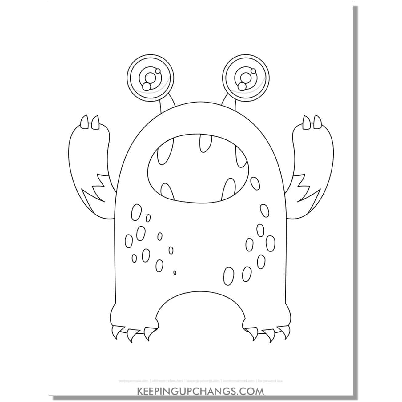 free furry alien monster coloring page.
