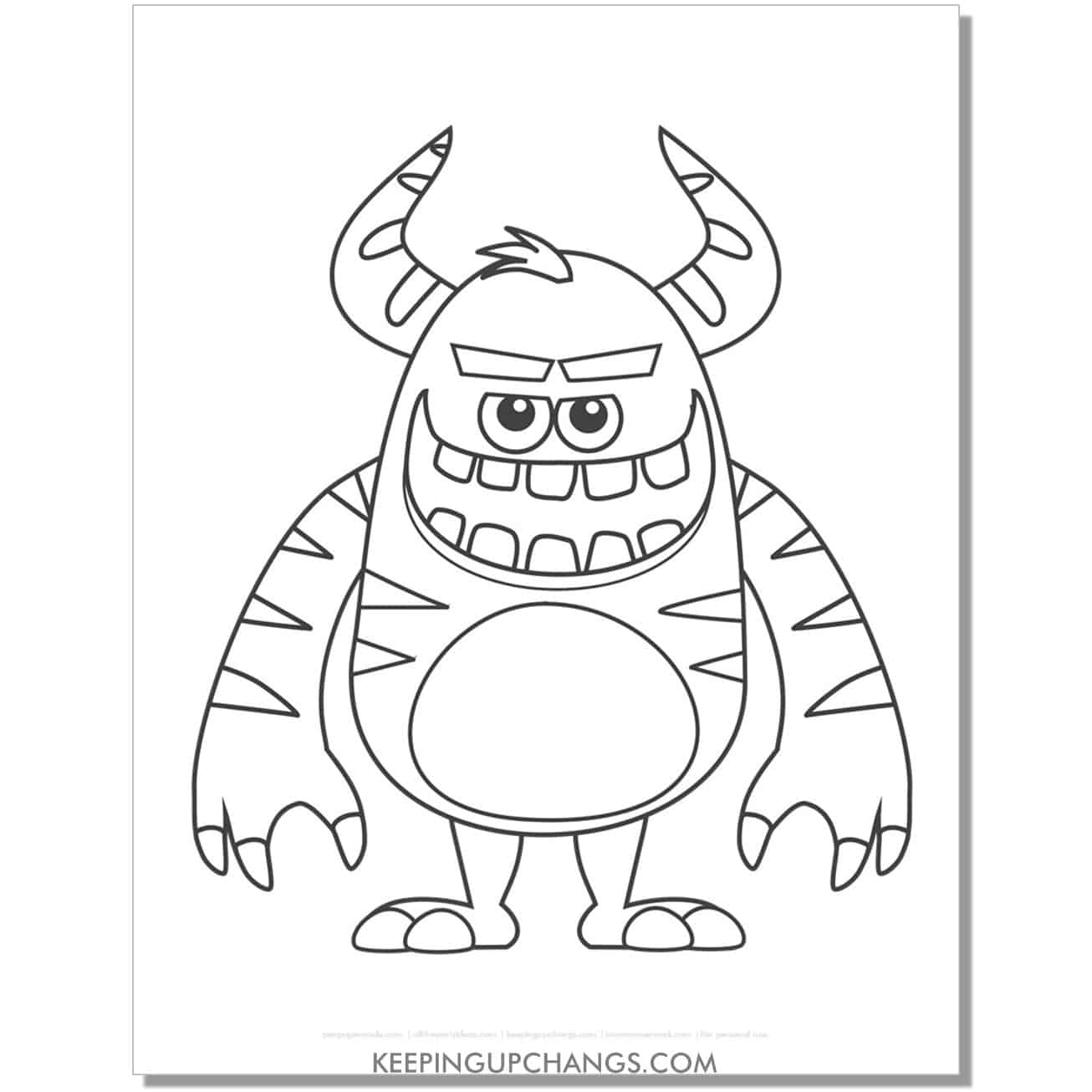 free striped monster coloring page.