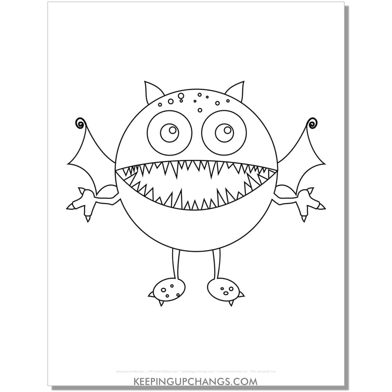 free sea monster with teeth and fins coloring page.