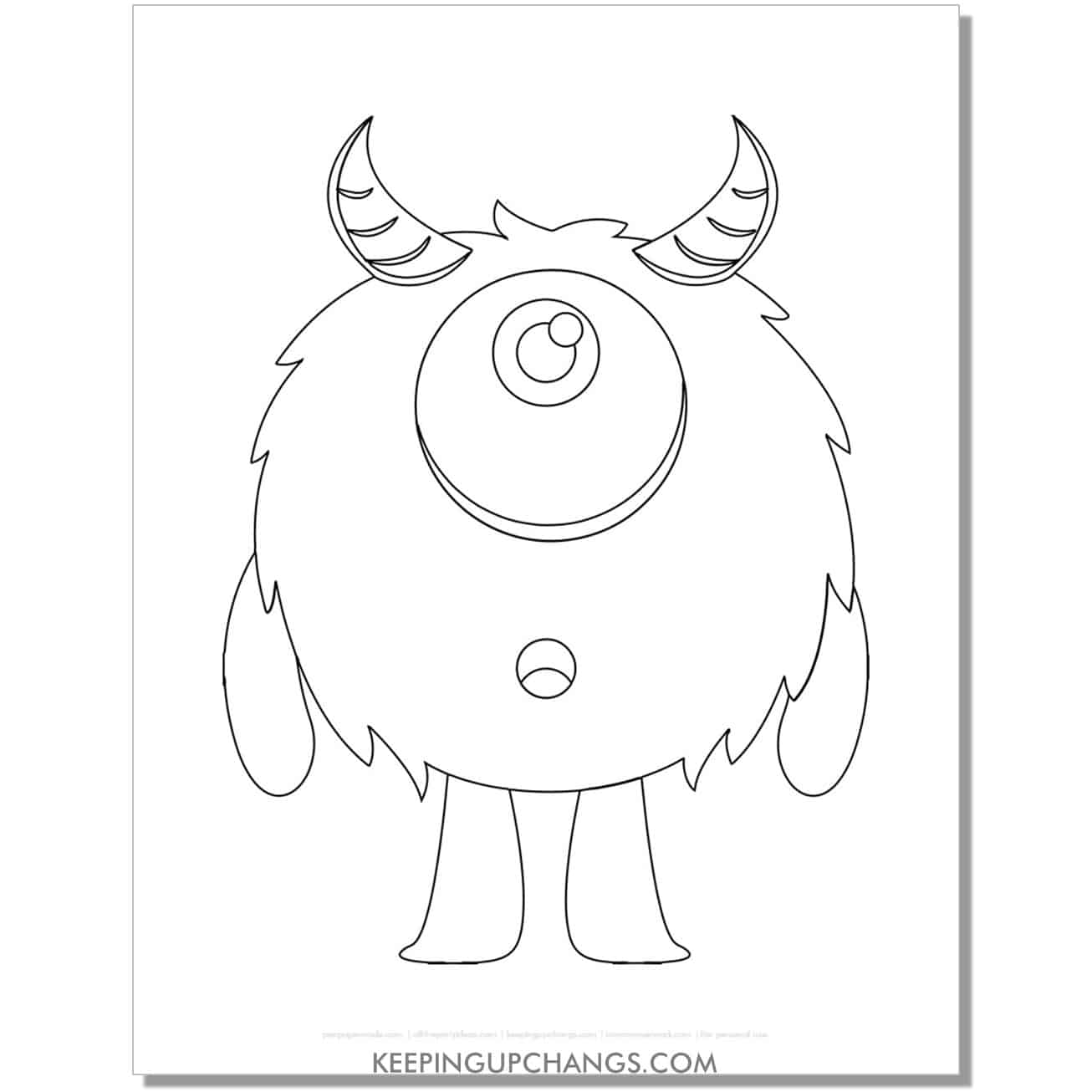 free one eyed furry monster with horns coloring page.