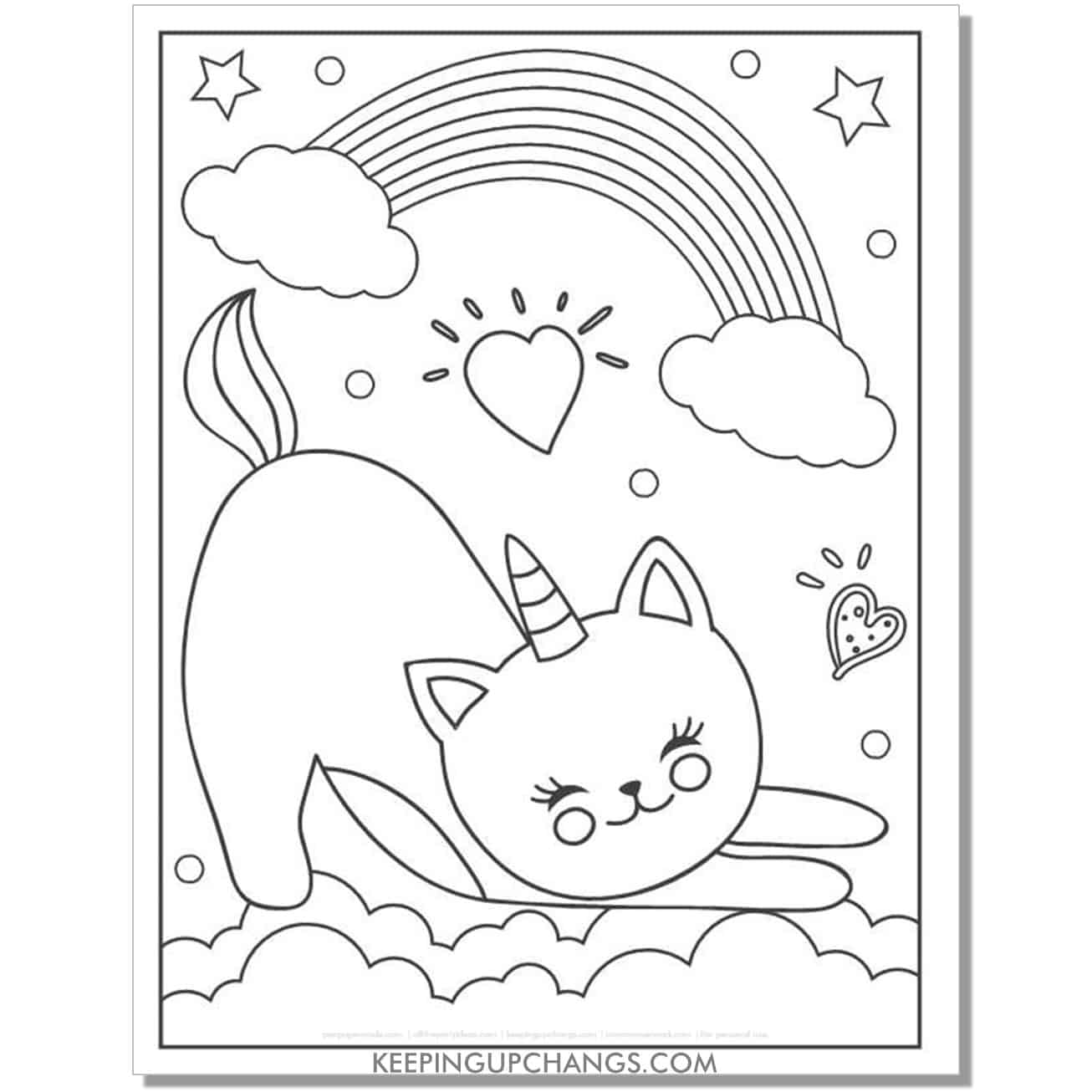 cat unicorn hearts and rainbows coloring page.