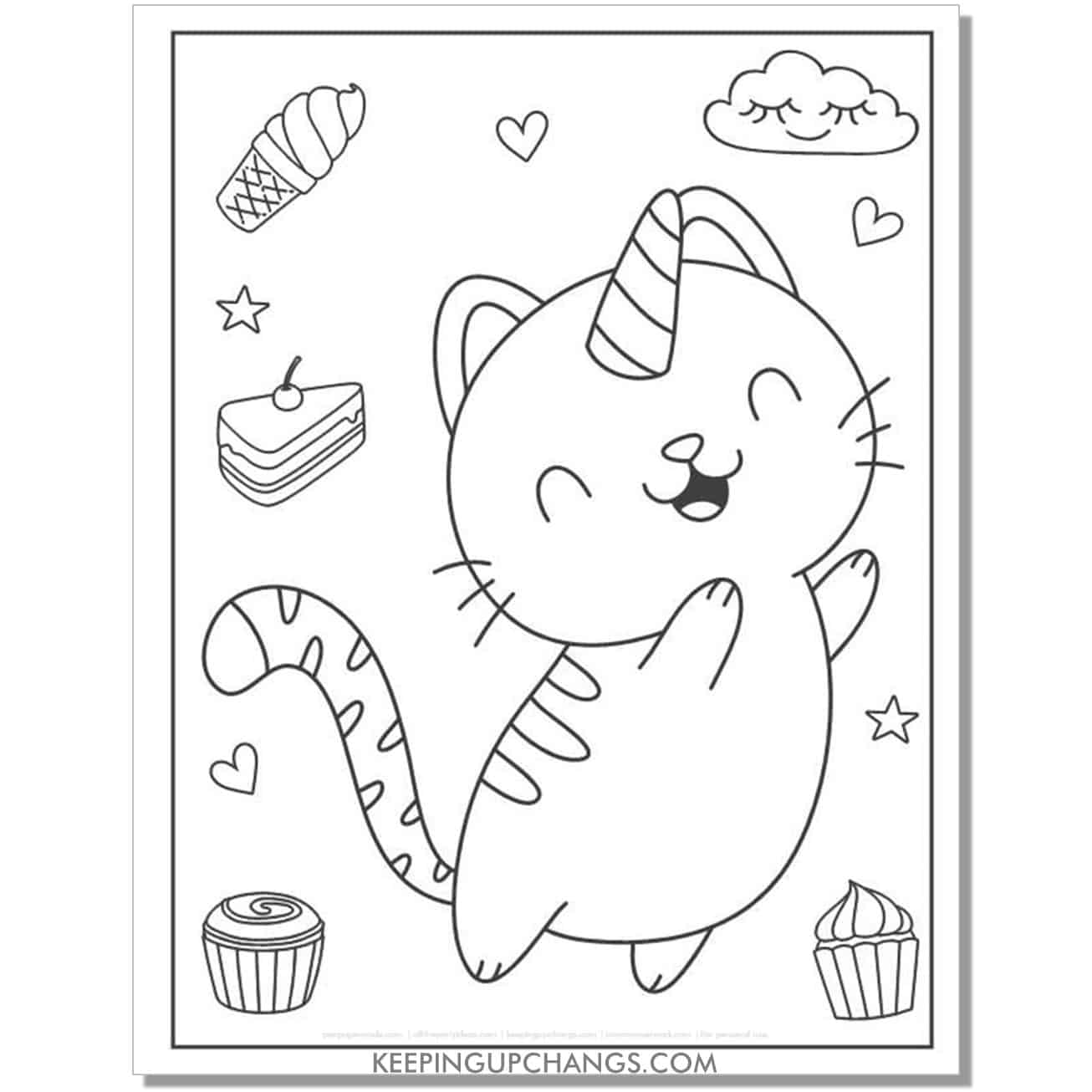 cat unicorn with ice cream, cake, cupcake coloring page.