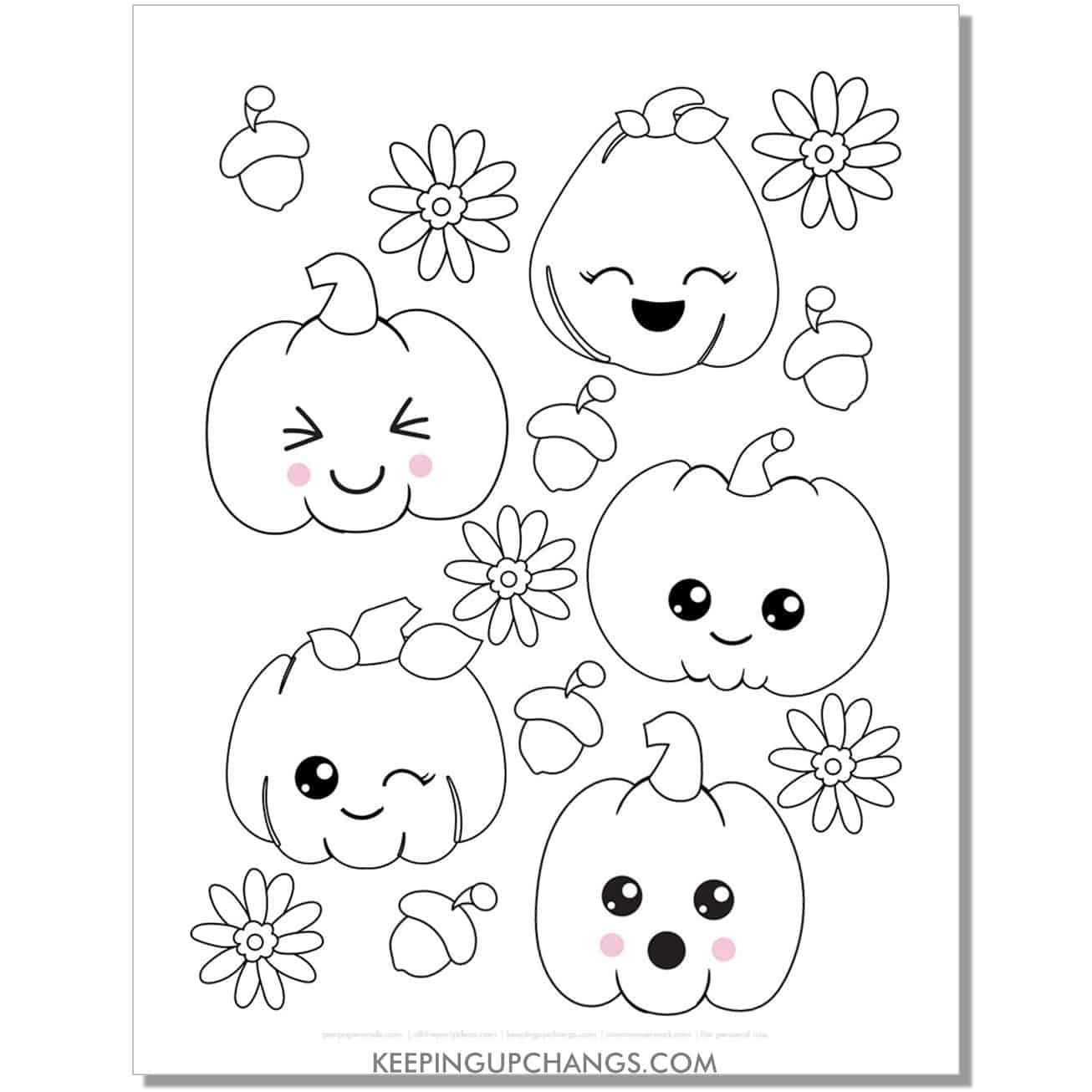 free kawaii pumpkin emoji face coloring page for fall, thanksgiving.