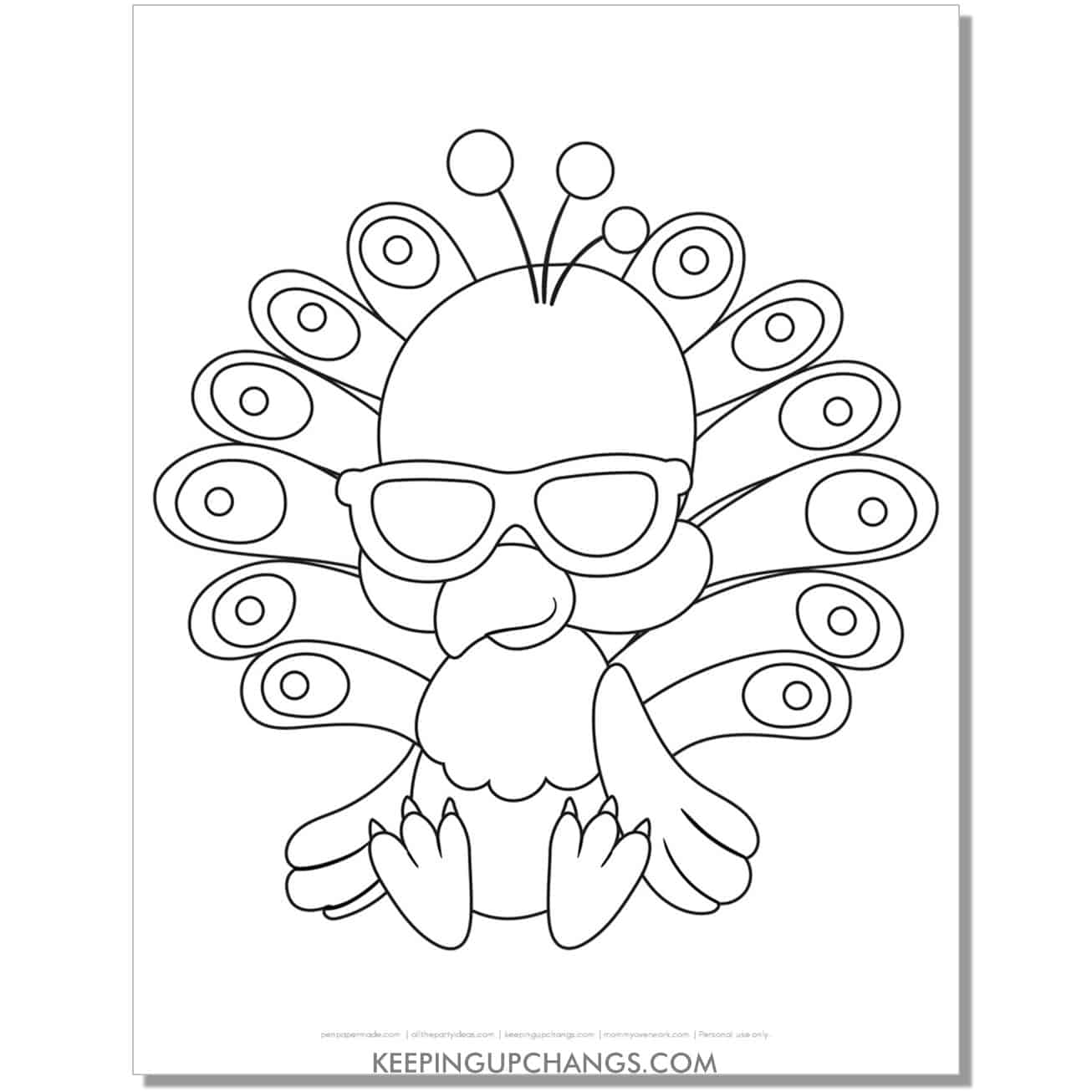 chibi baby peacock with sunglasses coloring page.