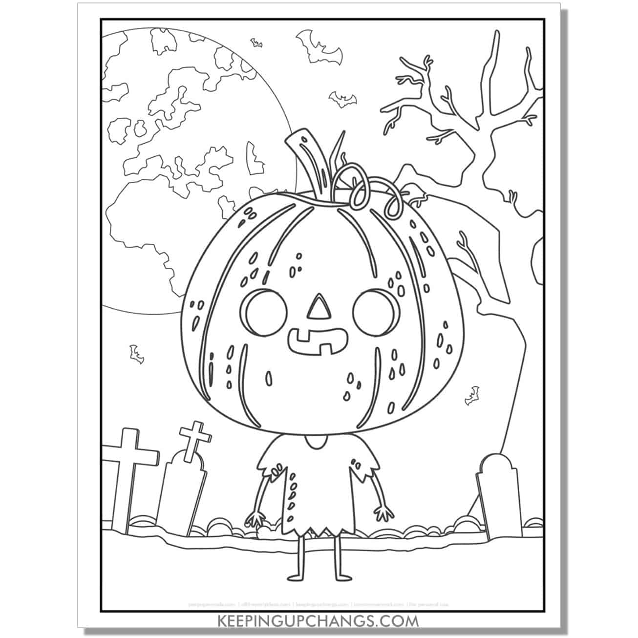 free cute halloween head pumpkin coloring page.