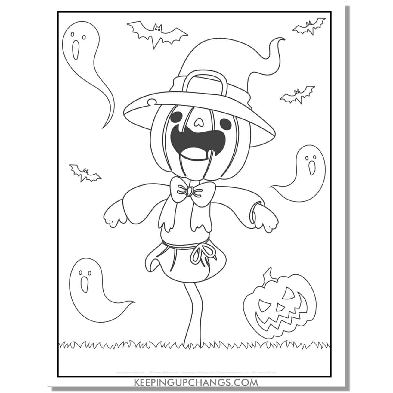 free cute halloween scarecrow pumpkin with ghosts coloring page.