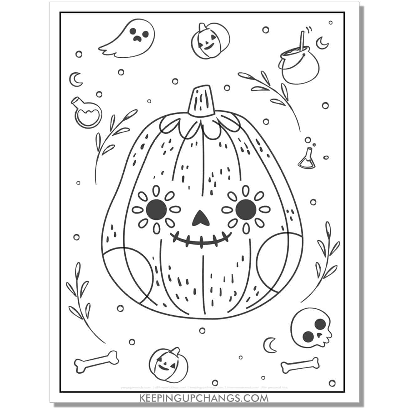 free cute sugar skull halloween pumpkin coloring page.