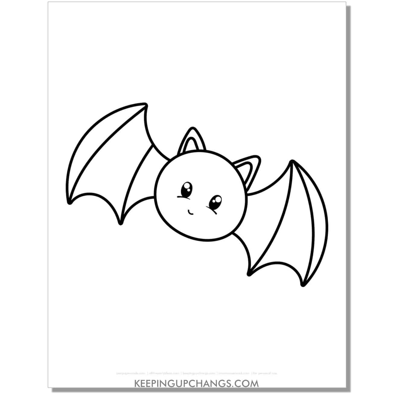 free cute bat halloween coloring page for kids.