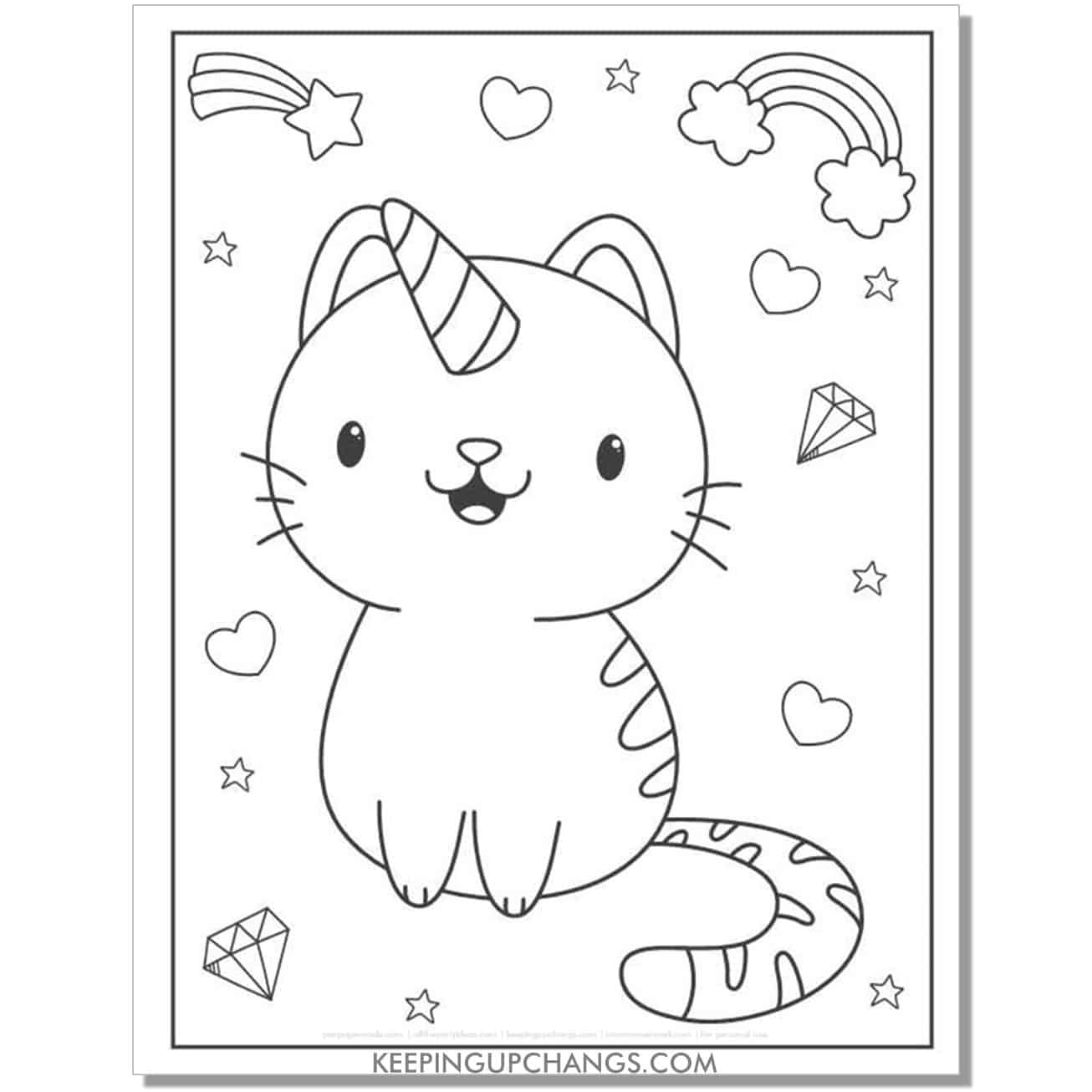 cat unicorn with hearts, rainbows, shooting stars coloring page.