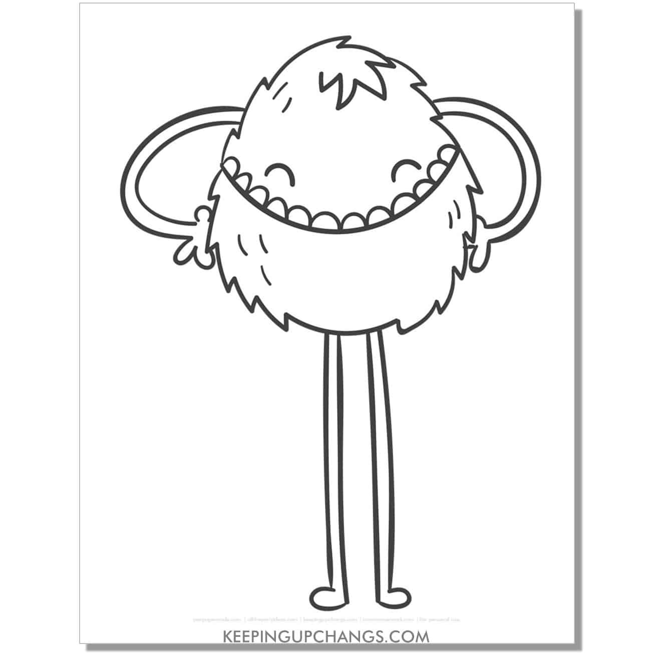 free furry monster with long legs coloring page.
