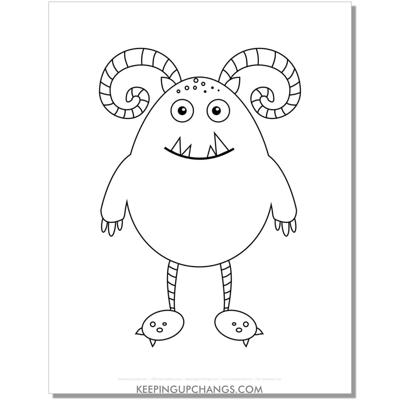 free curled horn monster coloring page.
