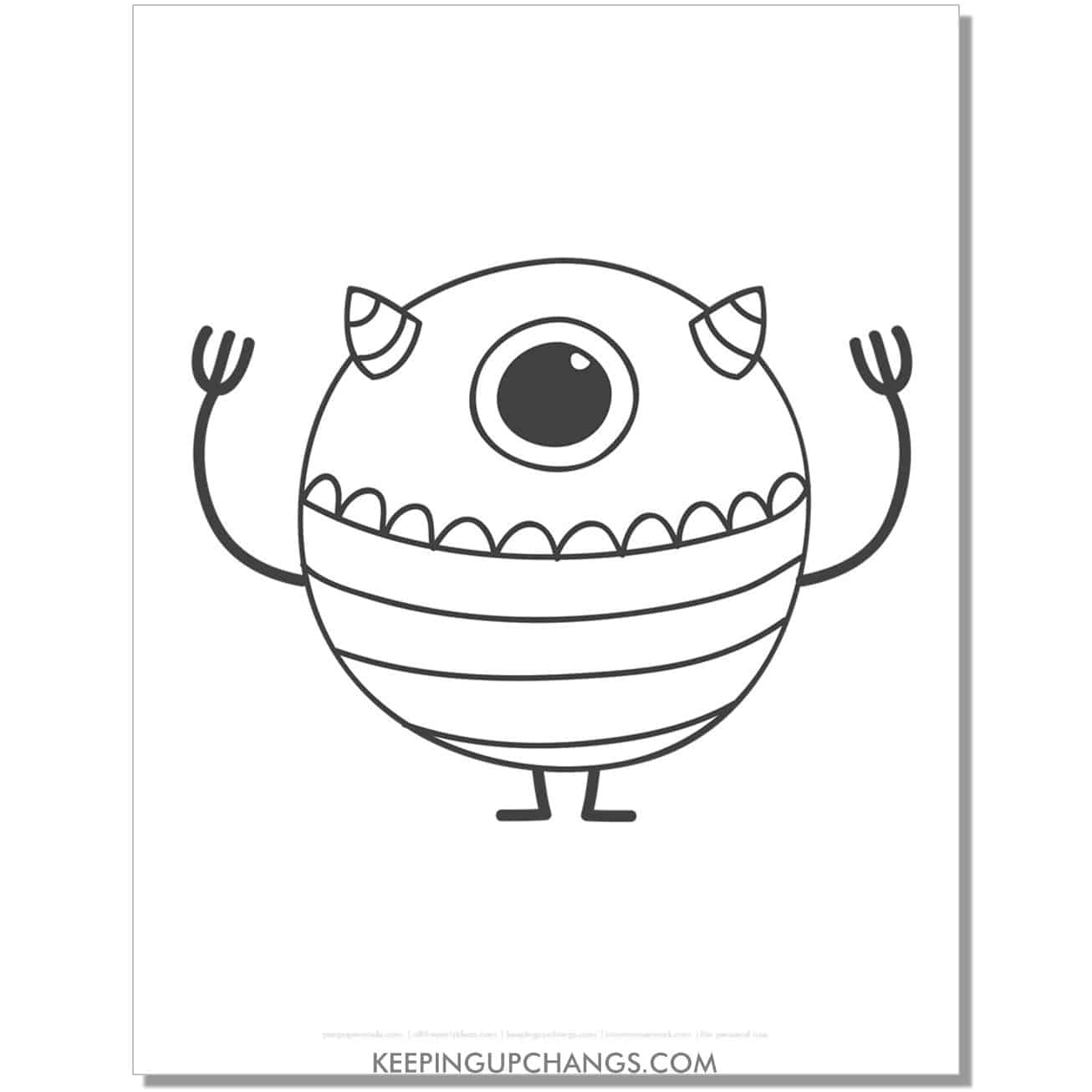 free round one eyed monster coloring page.