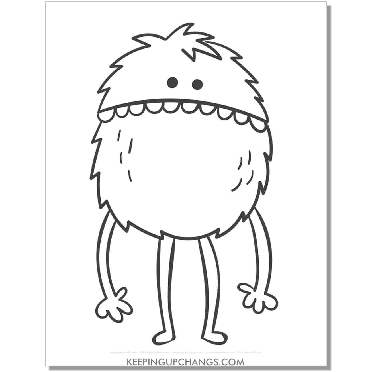 free tall fuzzy monster coloring page.