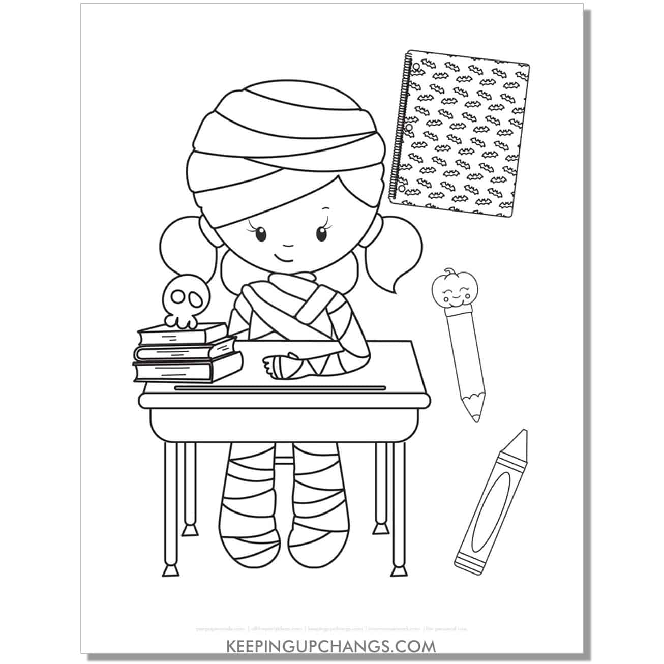 free cute mummy kid in school coloring page.