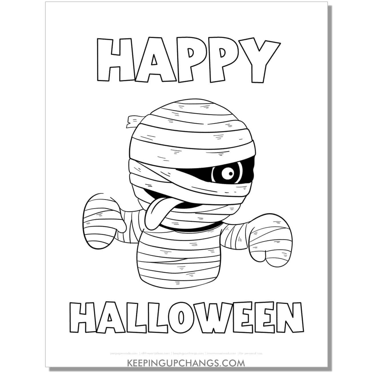 free cute mummy happy halloween coloring page.