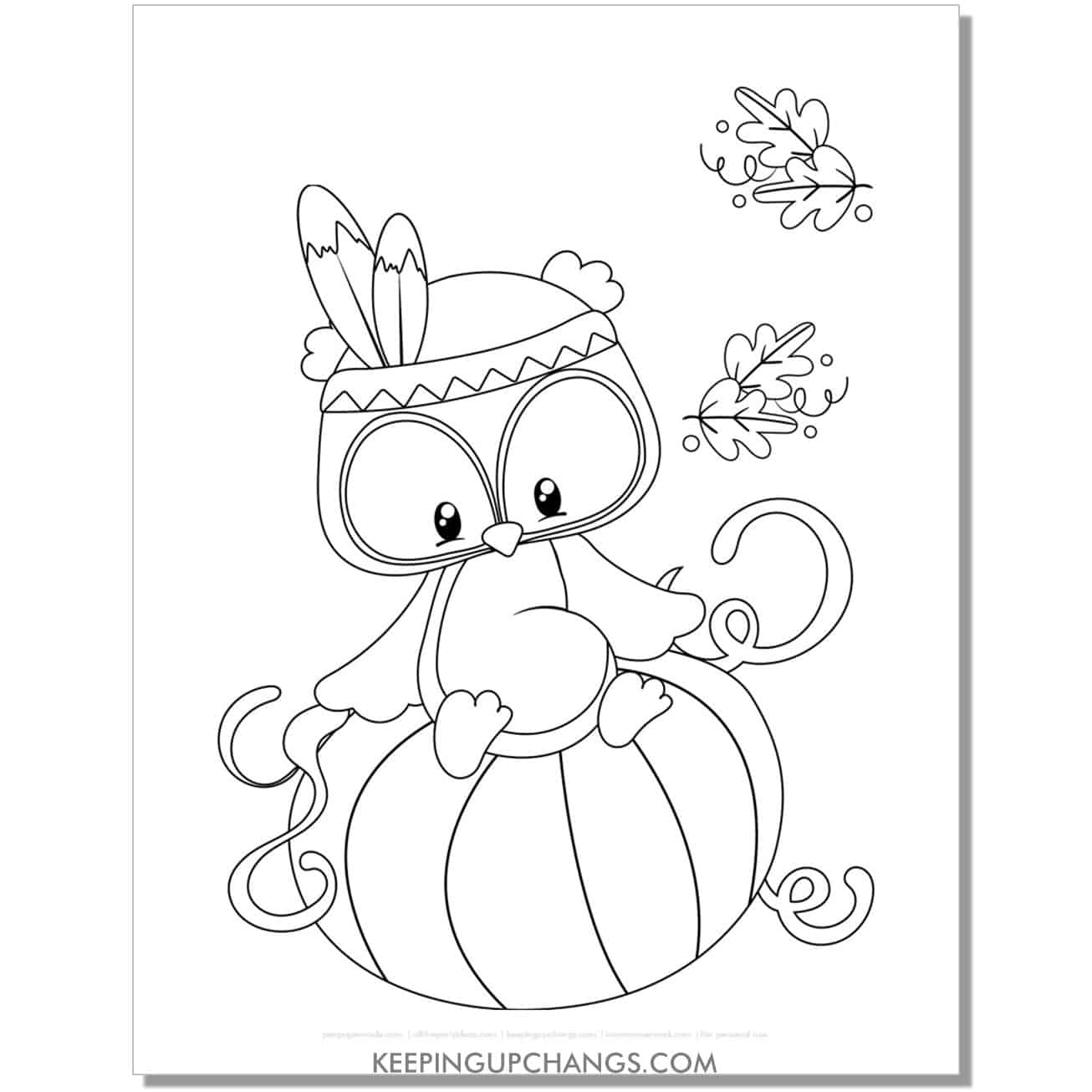 free pumpkin owl indian feather band coloring page for fall, thanksgiving.