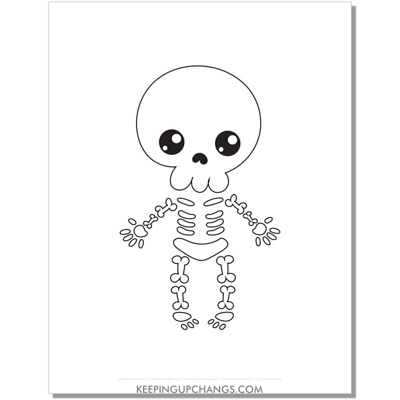 free cute skeleton halloween coloring page for kids.