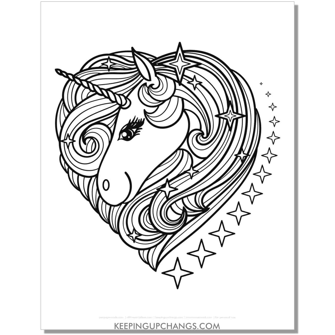 simple unicorn zentangle in heart shape coloring page.