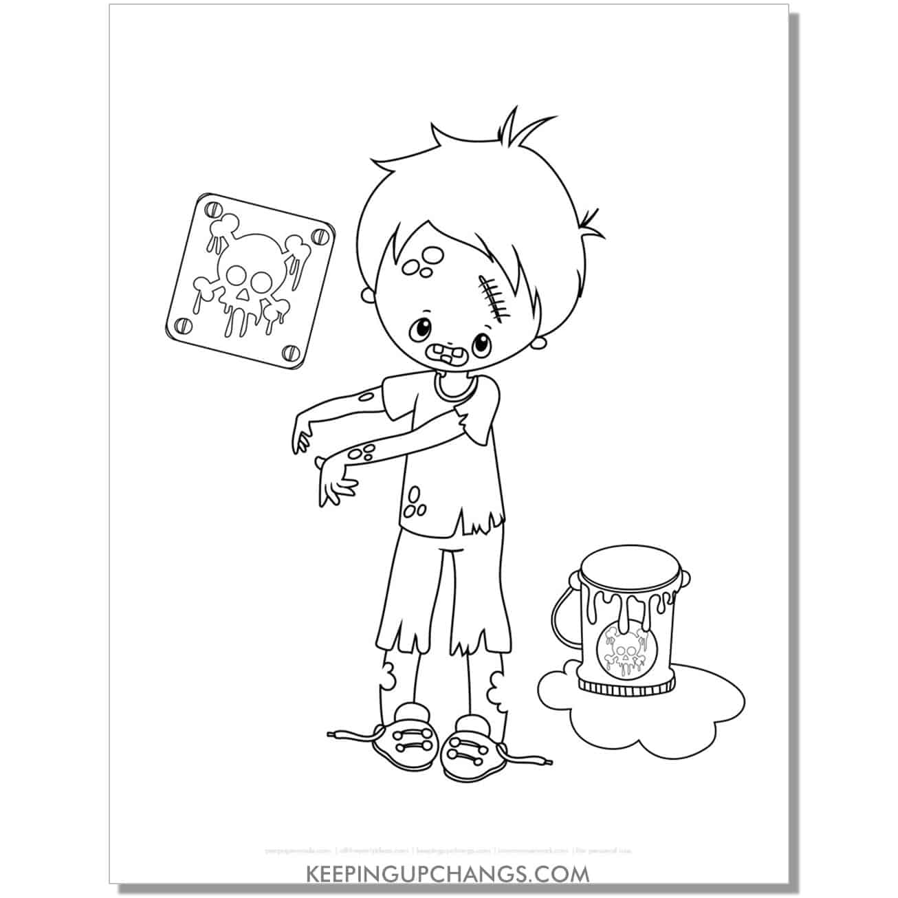 free zombie boy with biohazard crossbones coloring page.