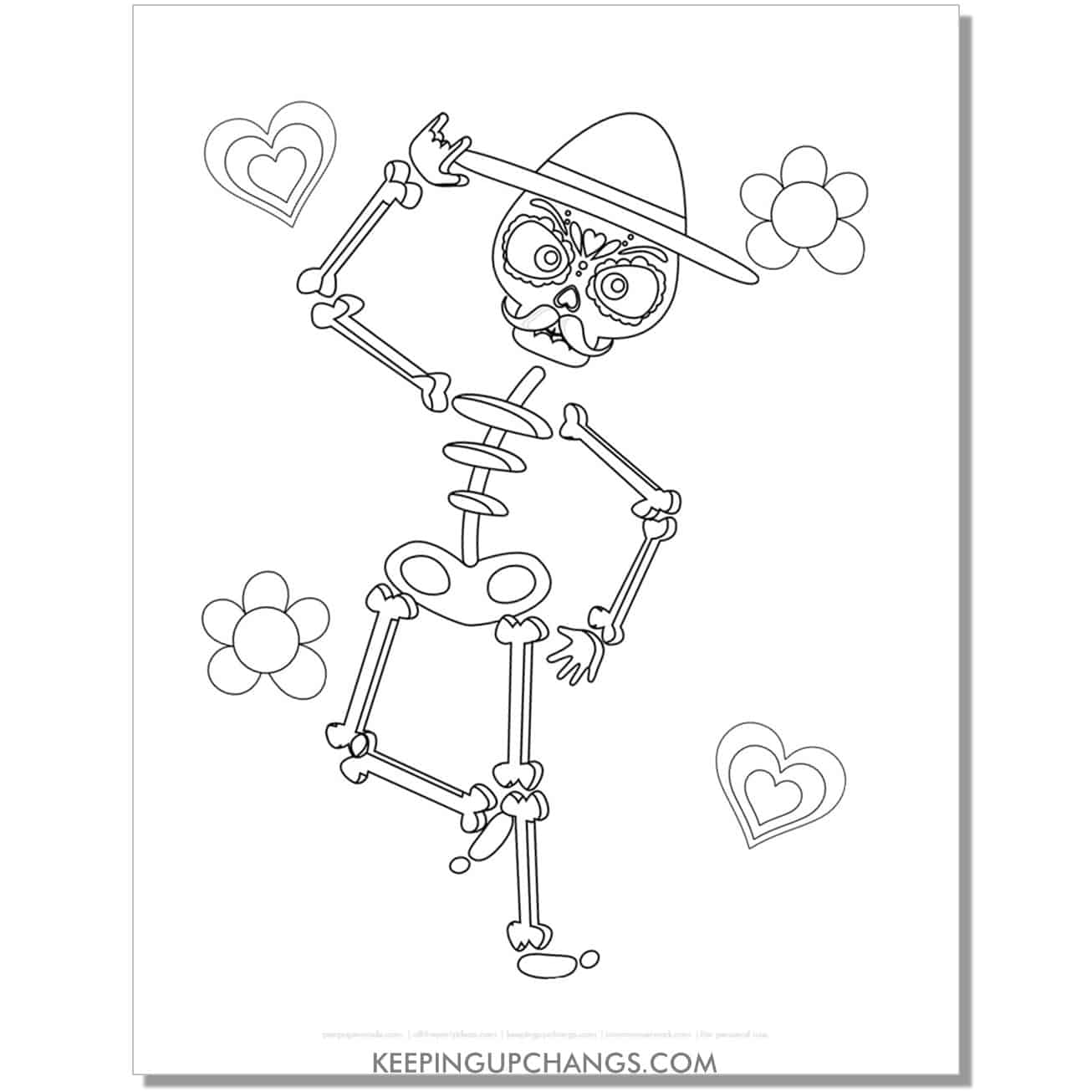 free day of the dead mexican skeleton for kids coloring page.