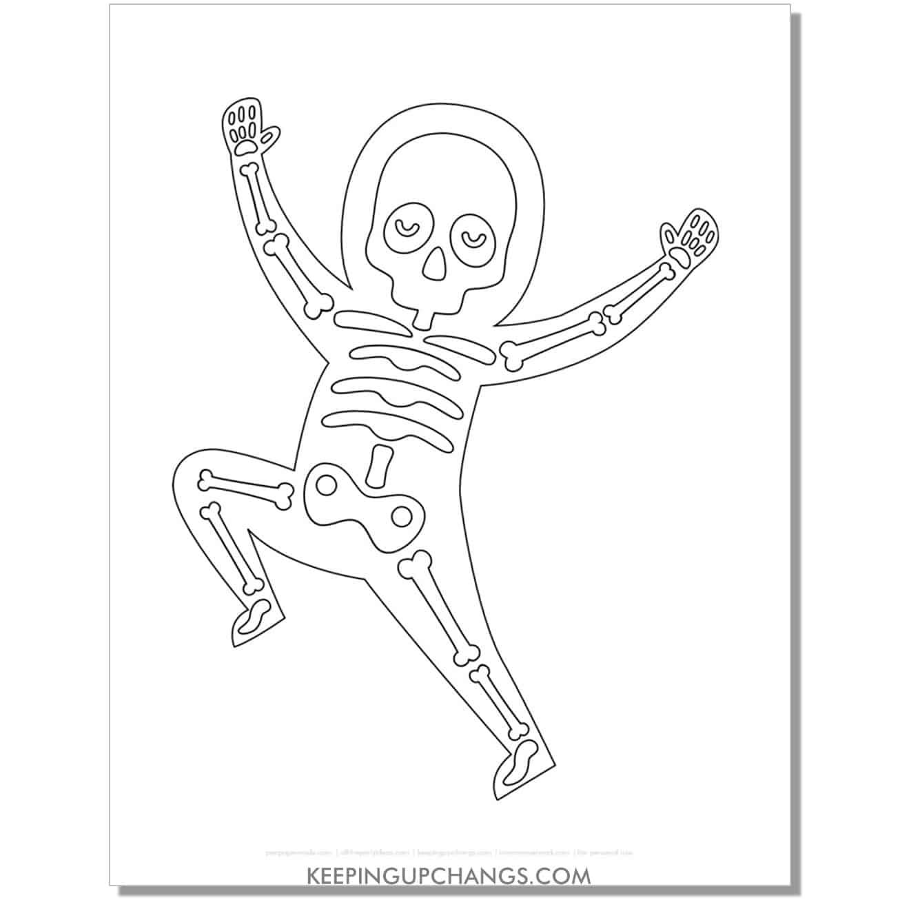 free dancing halloween skeleton man coloring page.