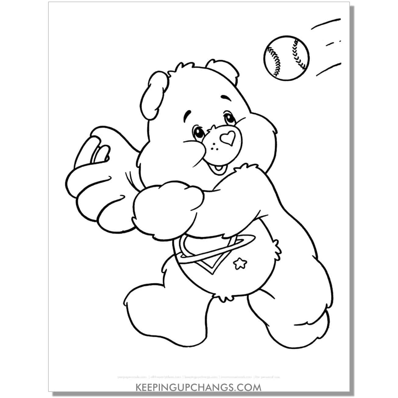 daydream care bear catching baseball coloring page.