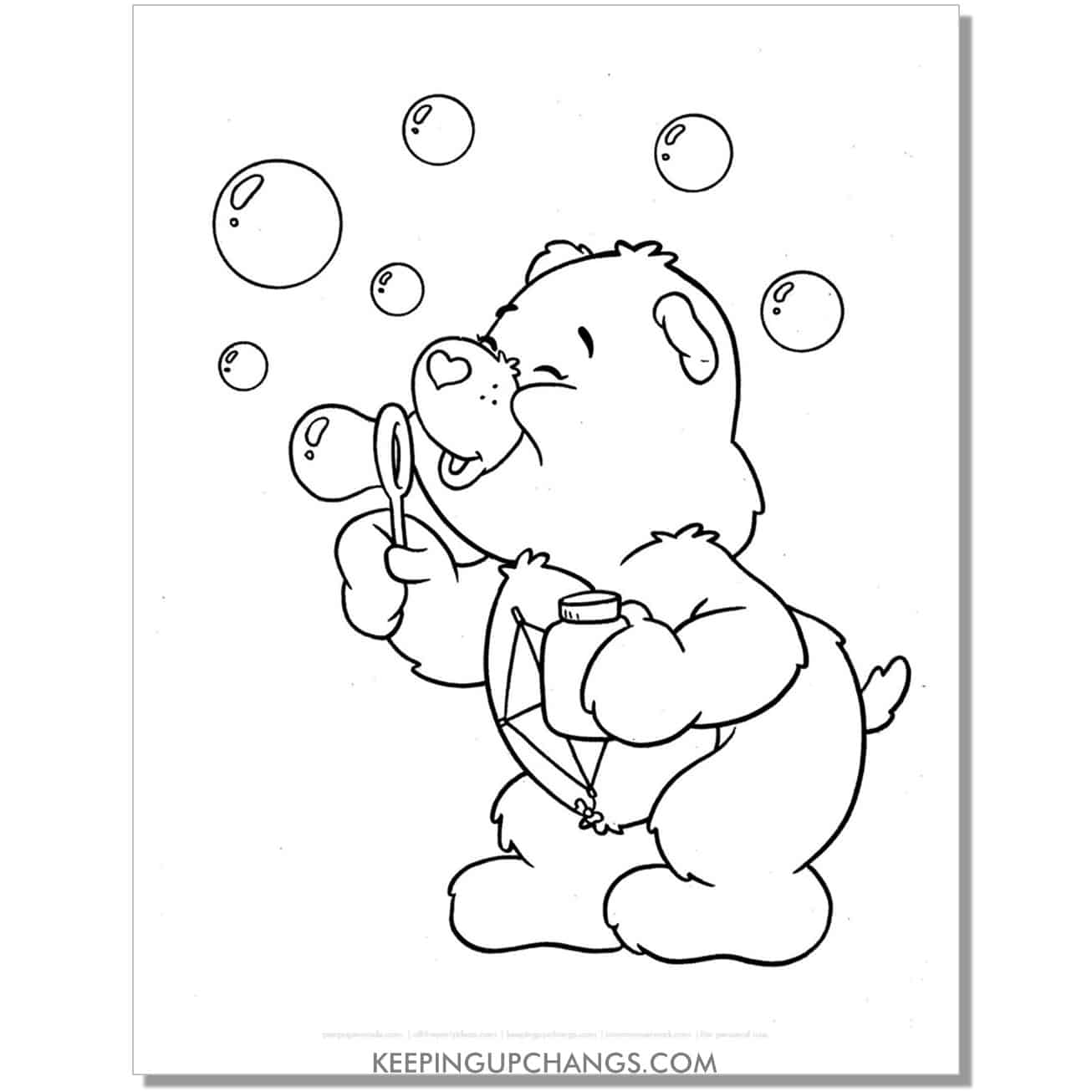 do your best care bear blowing bubbles coloring page.