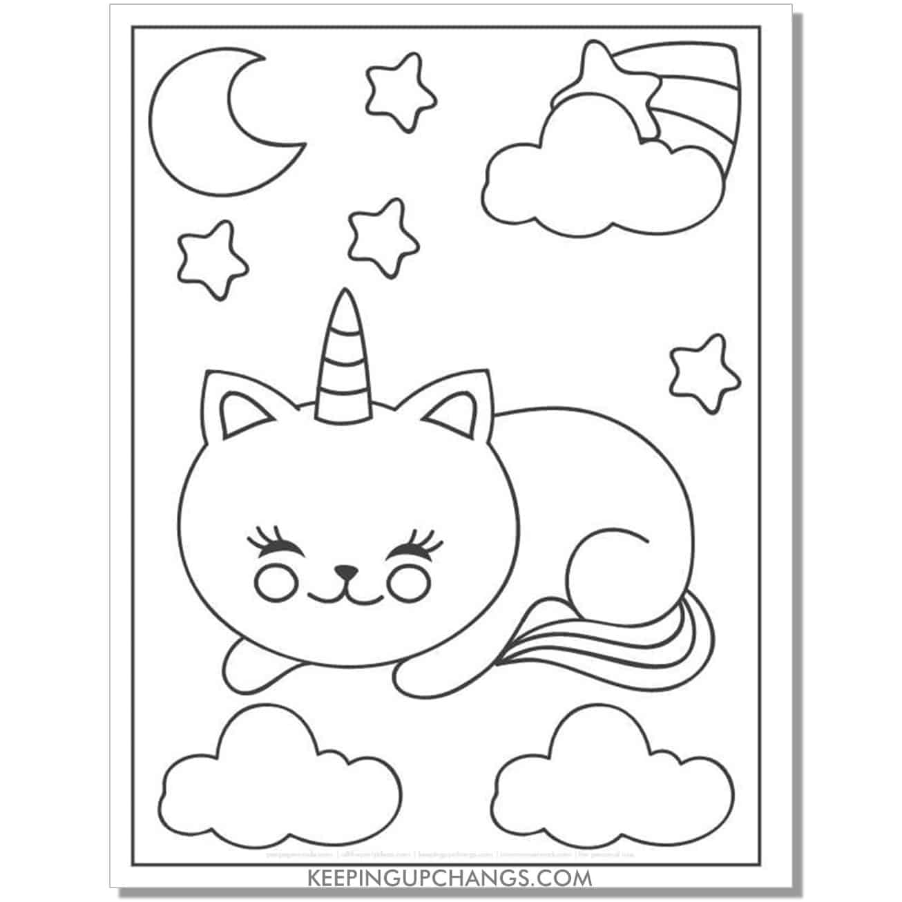 sleeping cat unicorn with sweet dreams coloring page.