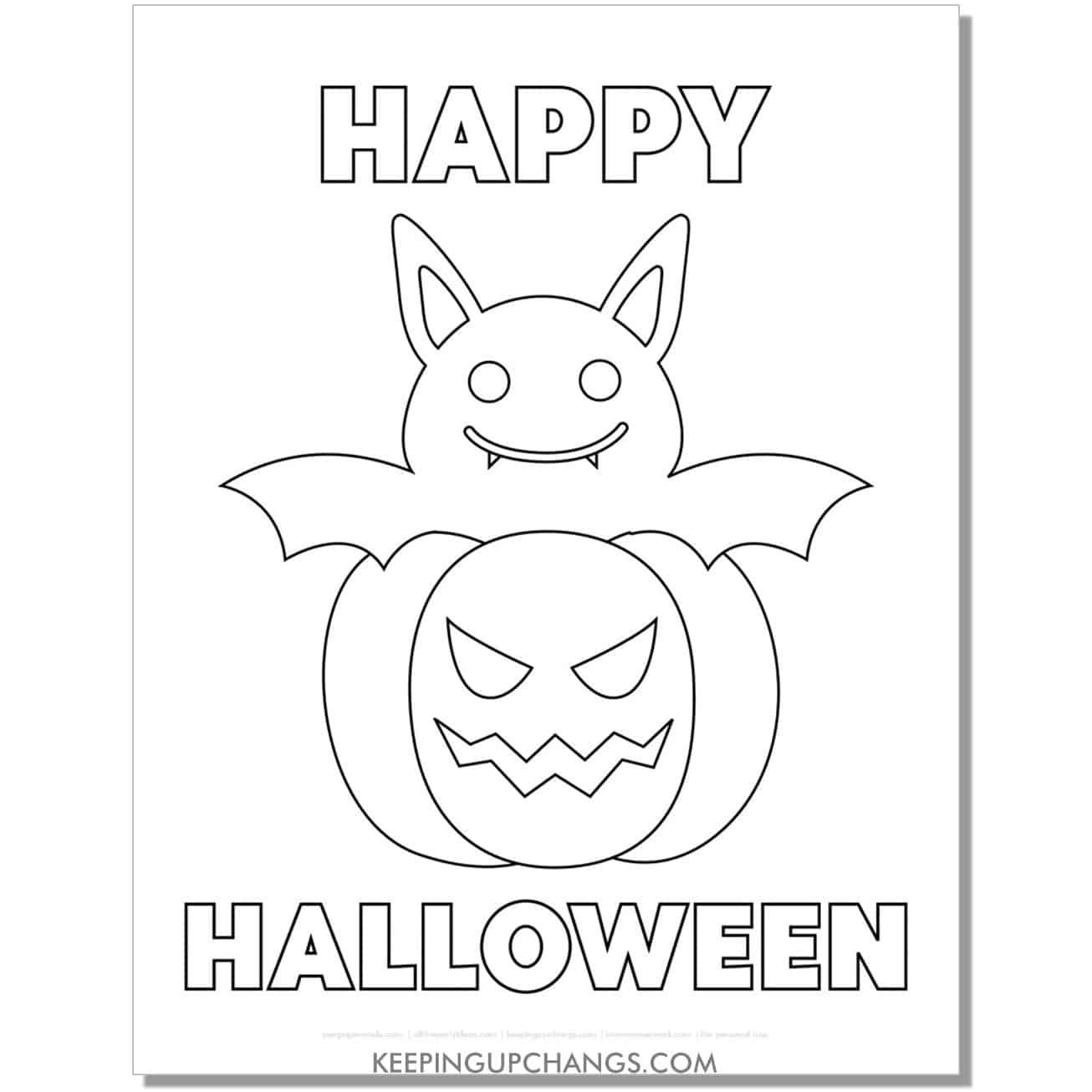 free easy bat jack o lantern pumpkin outline happy halloween coloring page.