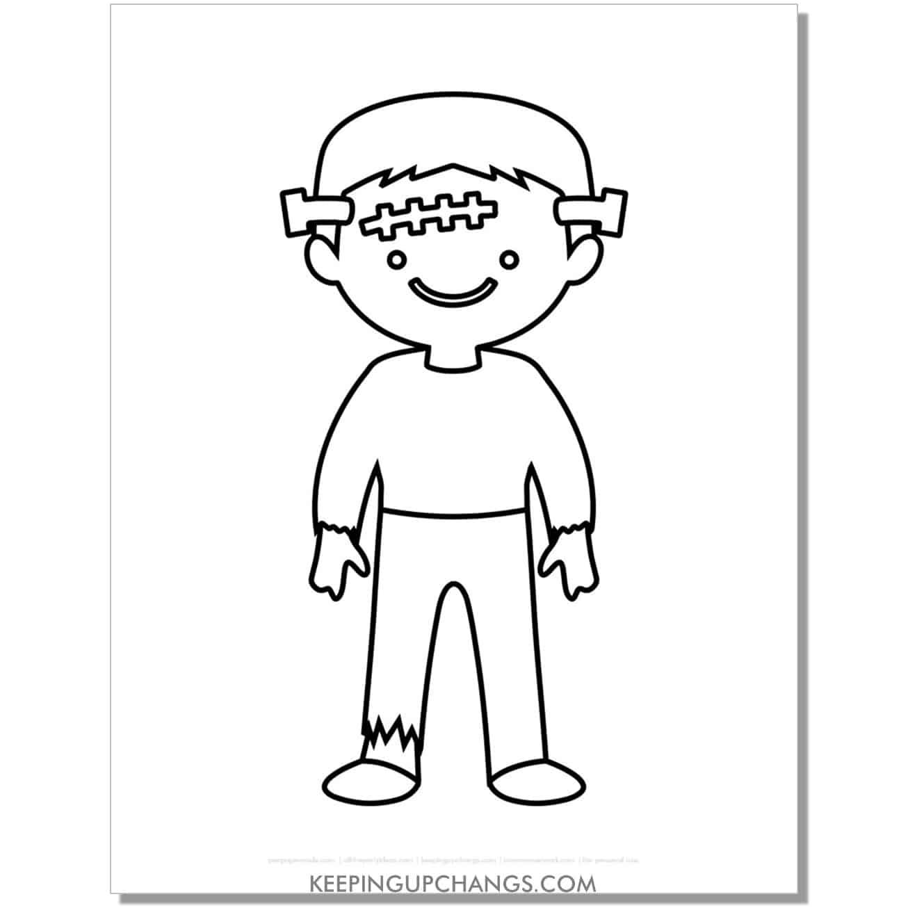 free simple frankenstein boy kid coloring page.