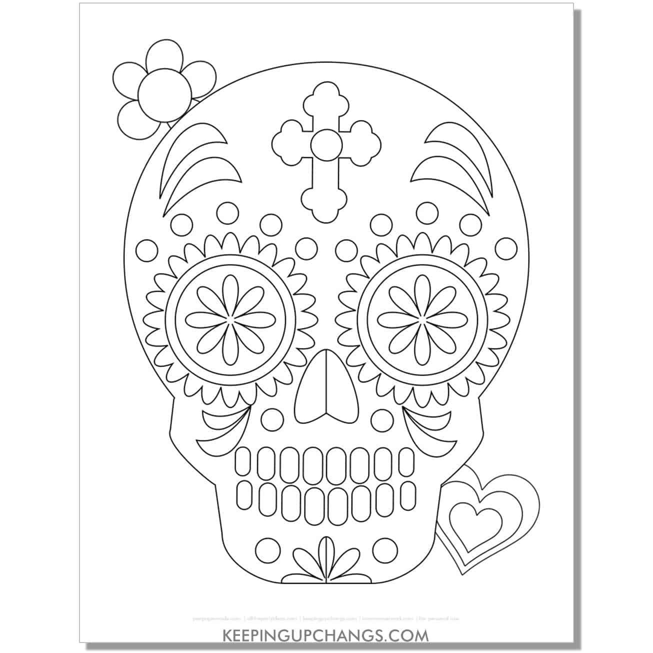 free intermediate sugar skull for kids coloring page.