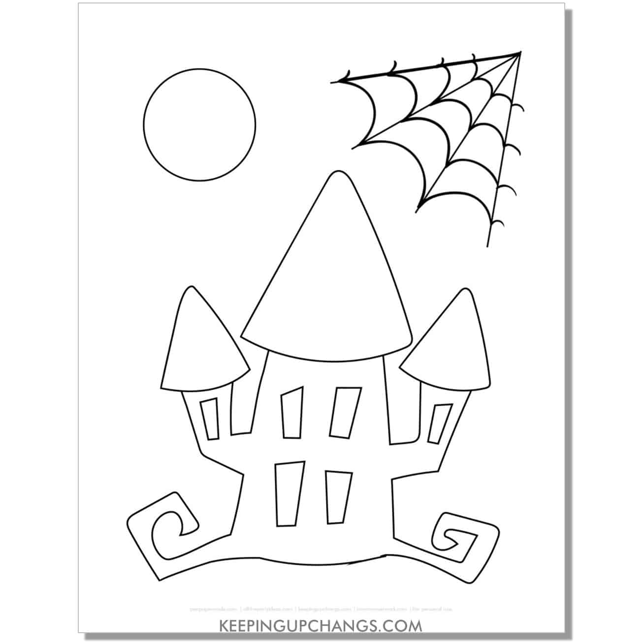 free haunted house halloween coloring page for toddlers.