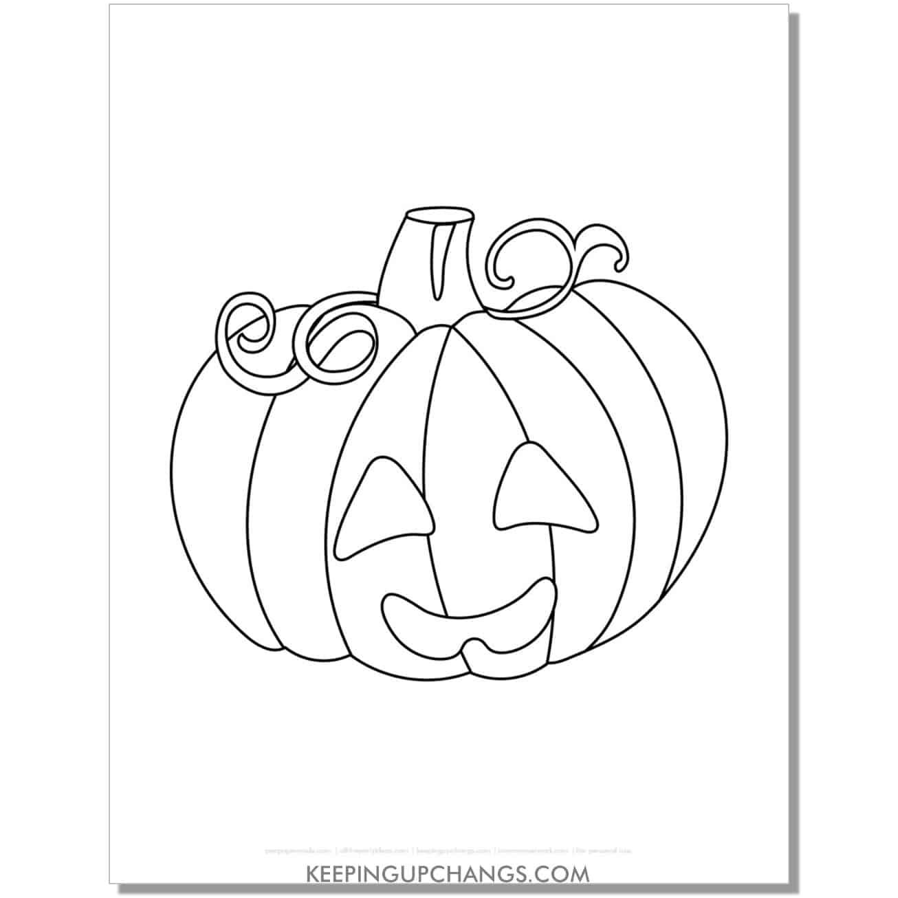 free halloween pumpkin jack o lantern template coloring page.
