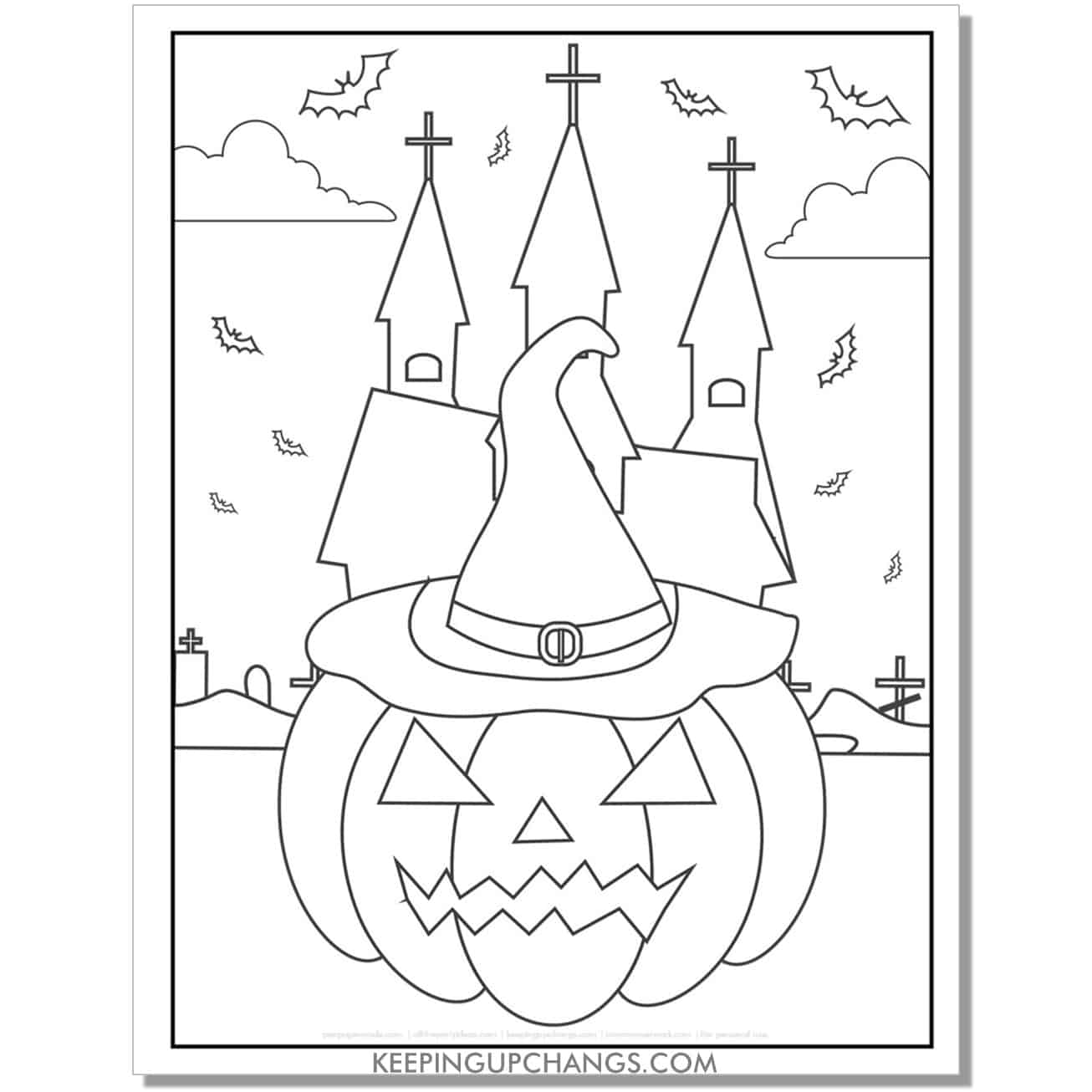 free haunted church and witch halloween pumpkin coloring page.