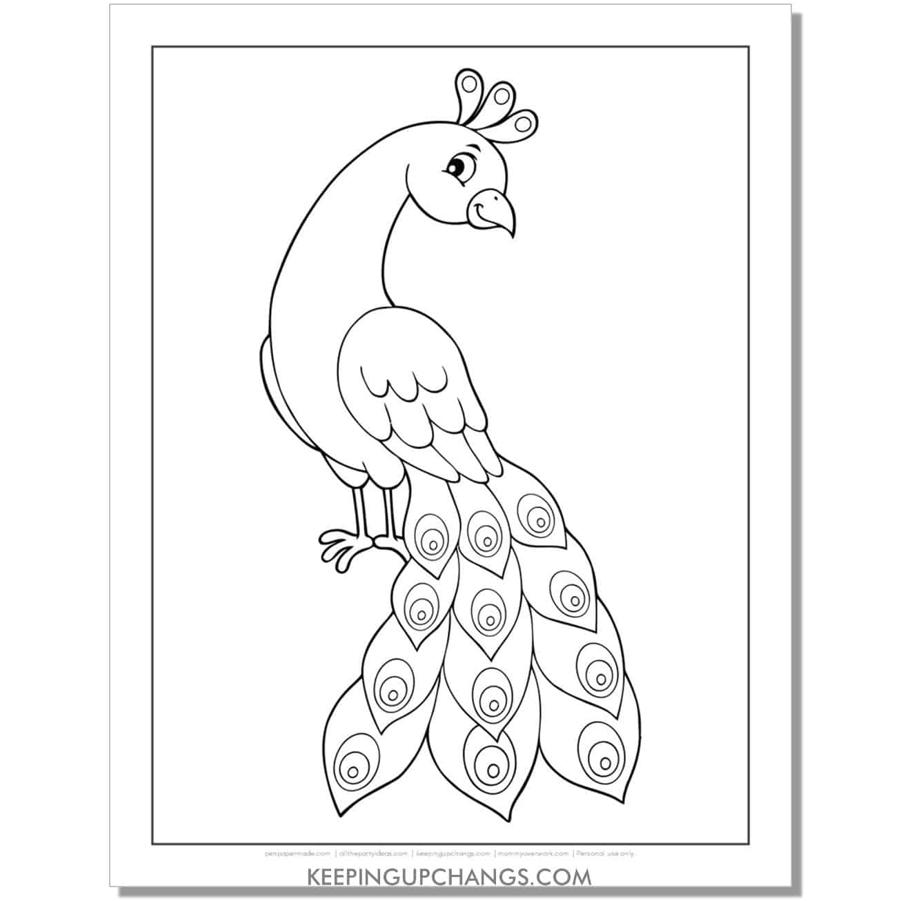 easy, simple peacock coloring page.