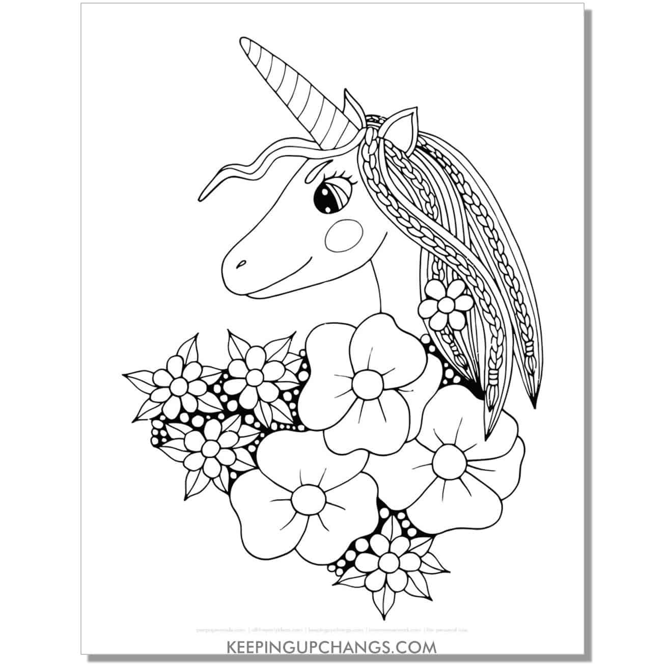 easy unicorn zentangle coloring page.