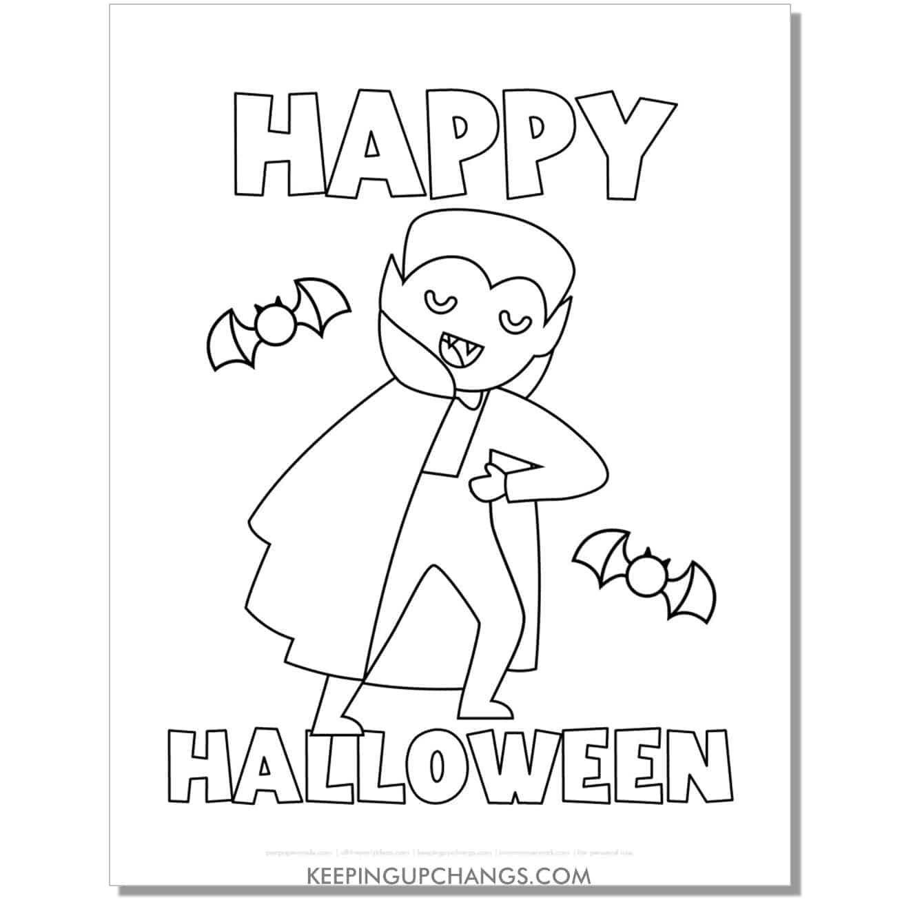 free happy halloween vampire boy coloring page.